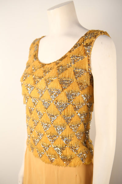 T115- 1950's Light Tangerine Beaded Sweater Top