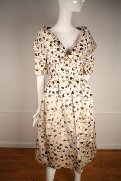 D155- 1950s French Couture Silk Strapless Dress With the Matching Jacket