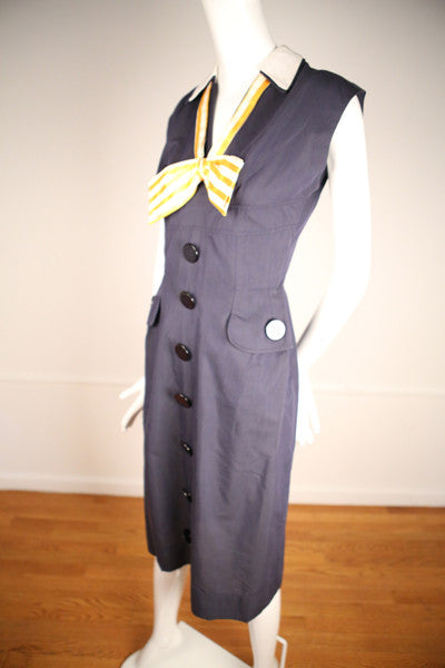 D161- 1940s Nautical Dress with Oversized Buttons