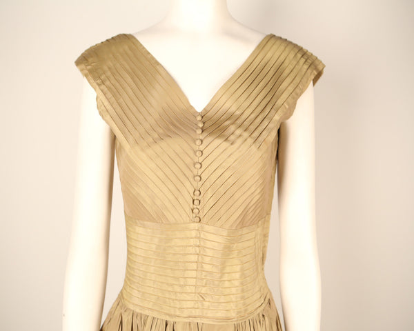 D122- Taupe Pleated Faille Dress from 1950's