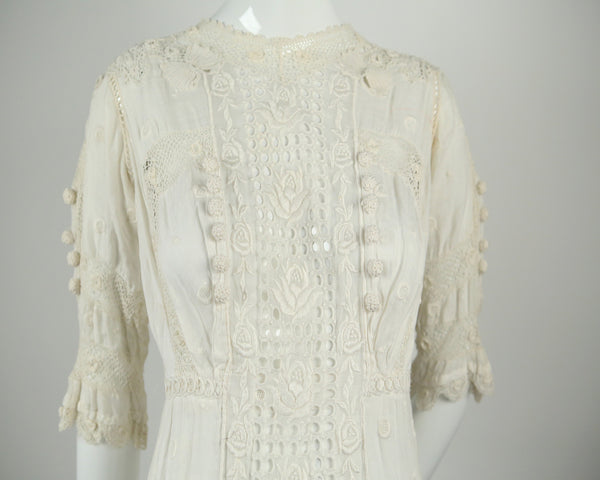 D134- Edwardian Embroidered Wedding Dress