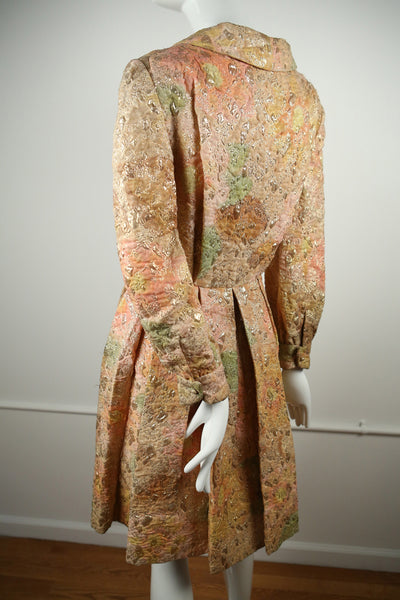 D136- 1960s Silk Multi-Colored Jacquard Button Up Dress