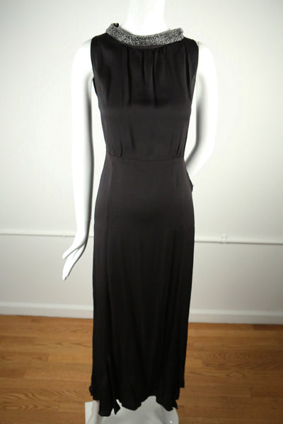 D139- 1930s Crepe Boat Neck Evening Gown