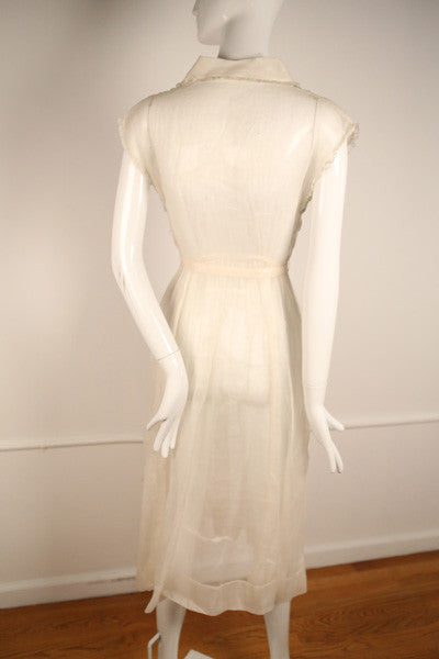 D149- 1950s Pale Pink Silk Organdy Dress with Rhinestone Buttons