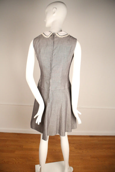 D157- 1960s Heather Gray Uniform Inspired Mini Dress