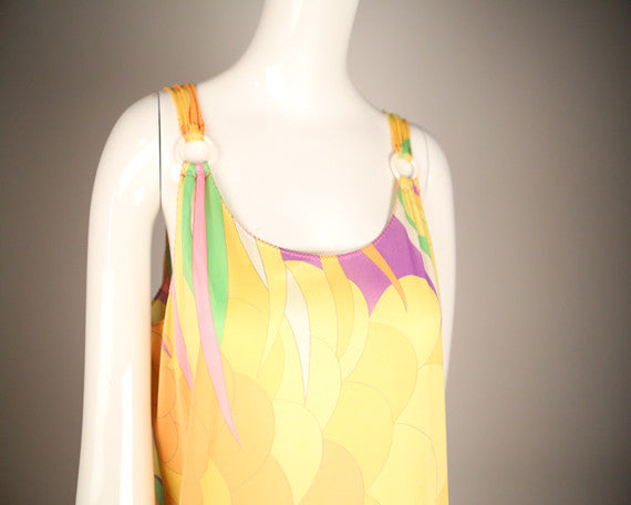 D158- 1970s Psychedelic Print Knit Dress