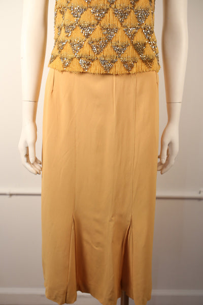 S116- 1940's Light Tangerine Rayon Pleated Skirt