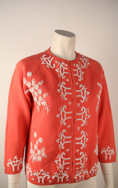 T119- 1960's Coral & White Embroidered Sweater Cardigan