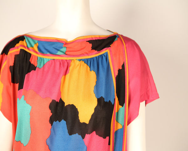 T123- Printed Italian Rayon Crepe Knit Top