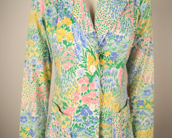 T129- 1970s Floral Printed Blazer