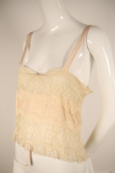 T151- Art Deco Pale Pink and Cream Negligee Camisole