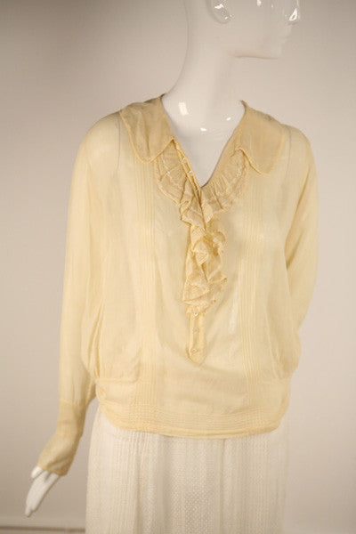 T154- Edwardian Cotton Buttoned Blouse