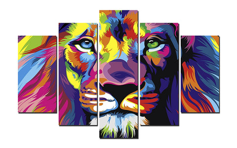 Framed Colorful Lion Canvas Wall Art - Amoy Shop