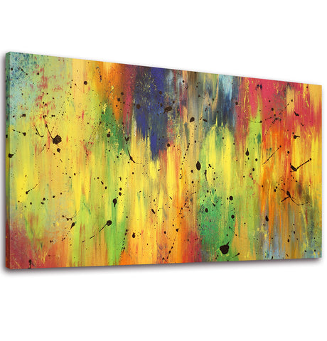 Ready to Hang Framed Abstract Yellow Canvas Wall Art - Amoy Shop
