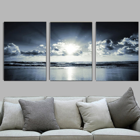 3 Panels Black White Sea Sunset Canvas Wall Art Framed Ready to Hang - Amoy Shop