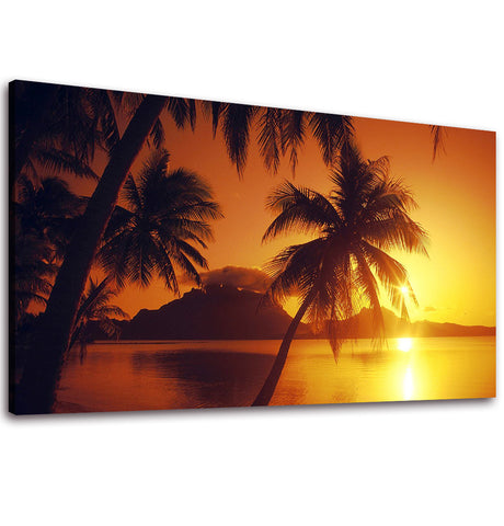 Ready to Hang Framed Sunset Palm Tree Canvas Wall Art - Amoy Shop