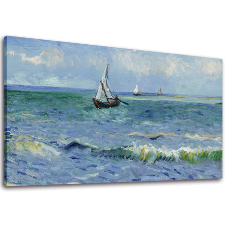 Ready to Hang Framed Seascape at Saintes-Marie by Claude Monet Canvas Wall Art - Amoy Shop