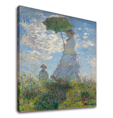 Ready to Hang Framed Woman with a Parasol - Madame Monet and Her Son by Claude Monet Canvas Wall Art - Amoy Shop