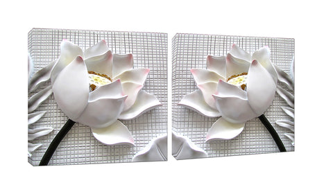 3D White Lotus Flowers Canvas Wall Art - Amoy Shop