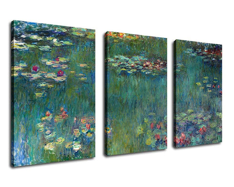 Ready to Hang Framed Water Lilies by Claude Monet Canvas Wall Art - Amoy Shop