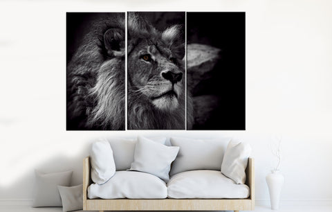 Black and White Lion Canvas Wall Art - Amoy Shop