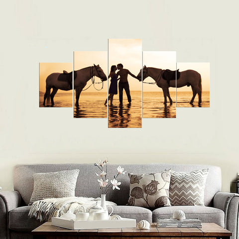 Framed Canvas Wall Art Romantic Beach Lover Kissing - Amoy Shop