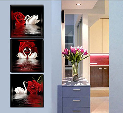 Swans Red Rose Flowers Canvas Wall Art Framed - Amoy Shop