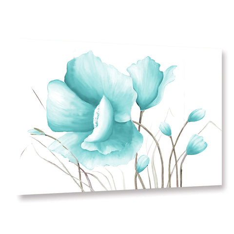 Ready to Hang Framed Blue Poppies Flower Canvas Wall Art - Amoy Shop