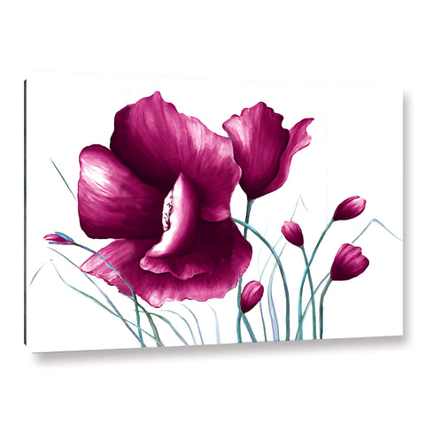 Ready to Hang Framed Purple Poppies Flower Canvas Wall Art - Amoy Shop