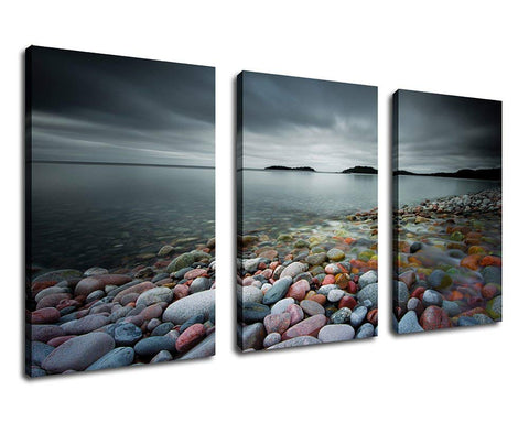 Sunset Beach Colorful Stones Canvas Wall Art Framed - Amoy Shop