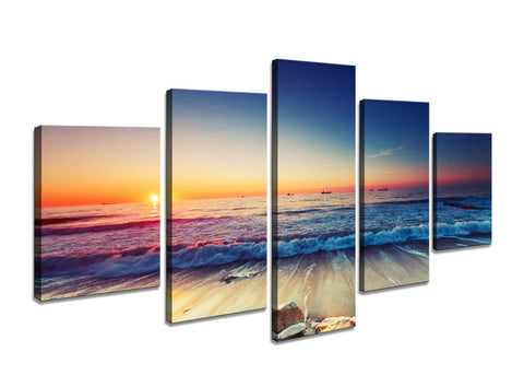 5 Pieces Blue Ocean Sea Beach Canvas Wall Art - Amoy Shop