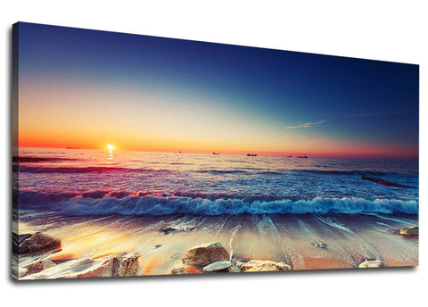 BLUE OCEAN SEA BEACH Canvas Wall Art - Amoy Shop