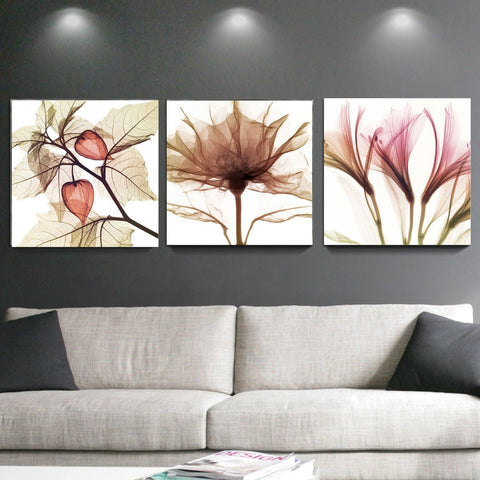 Framed Brown Flowers Canvas Wall Art - Amoy Shop