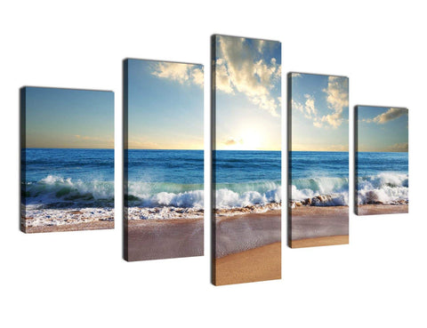 5 Pieces Blue Sandy Beach Canvas Wall Art - Amoy Shop