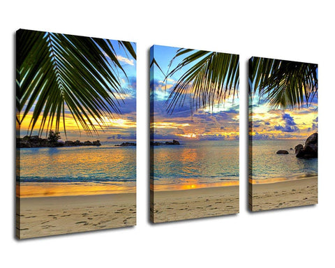 Beach Sunset Ocean Waves Palm Tree Canvas Wall Art Framed Ready to Hang - Amoy Shop
