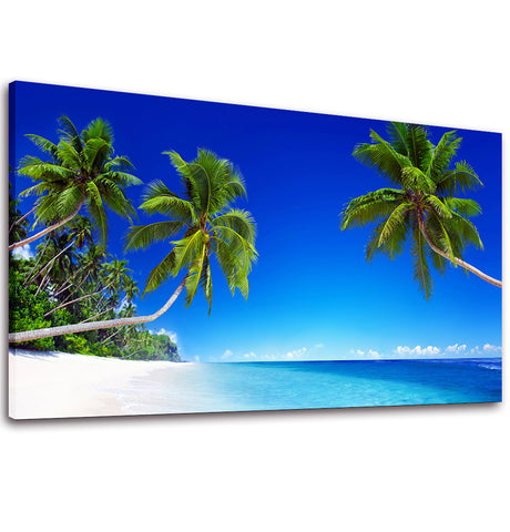 Ready to Hang Framed Blue Sea Sandy Beach with Palm Tree Canvas Wall Art - Amoy Shop