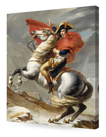 Framed Napoleon Crossing The Alps by Jacques Louis David Canvas Wall Art - Amoy Shop