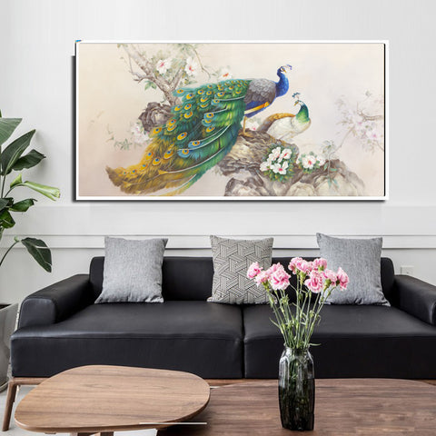 The Peacocks On Tree Oil Painting on Canvas - Amoy Shop