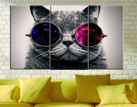 Funny Cut Cat with Glasses Canvas Wall Art Framed - Amoy Shop