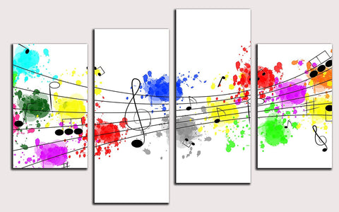 Colorful Graffiti Music Notes Canvas Wall Art Framed - Amoy Shop