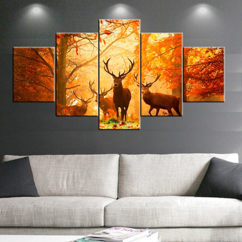 Deer in Sunset Forest Canvas Wall Art - Amoy Shop