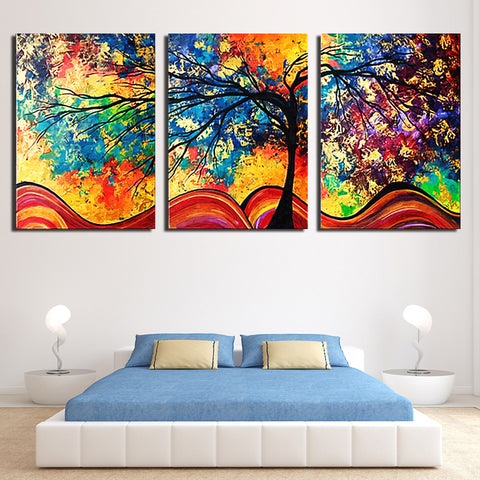 Framed Abstract Colorful Trees Canvas Wall Art - Amoy Shop