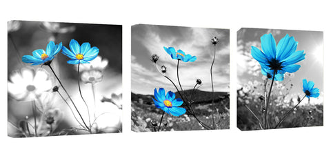 Ready to Hang Framed Blue Flowers Canvas Wall Art - Amoy Shop