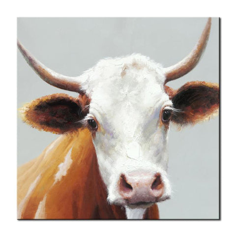 Hand Painted White Cow Oil Paintings - Amoy Shop