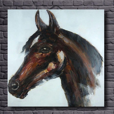 Hand Painted Horse Head Oil Painting - Amoy Shop