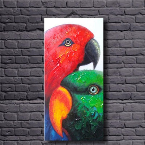 Hand Painted Parrot Oil Painting - Amoy Shop