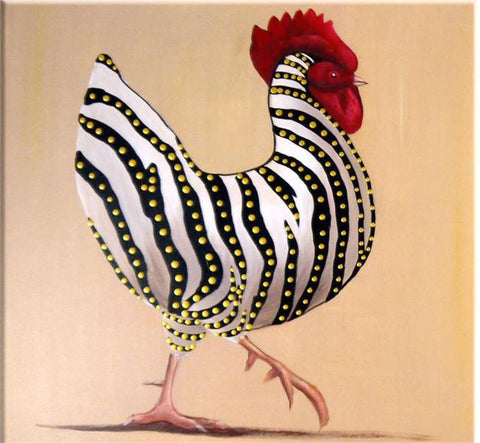 Hand Painted Cock Oil Paintings - Amoy Shop