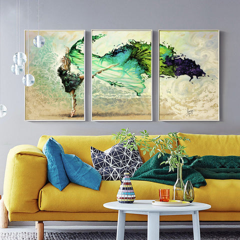 Dance Canvas Wall Art Framed Ready to Hang Set of 3 - Amoy Shop
