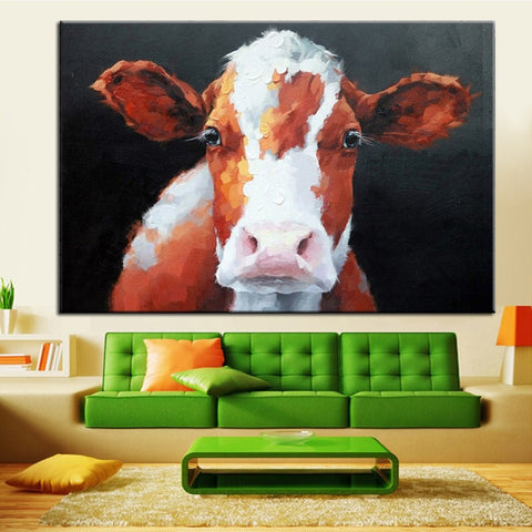 Hand Painted White Brown Cow Acrylic Oil Painting - Amoy Shop