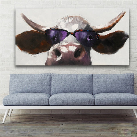Hand Painted Cartoon Animal  Cool Glass Cow  Oil Painting - Amoy Shop